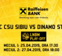 Primele partide din sfertul de finală CSU Sibiu-Dinamo