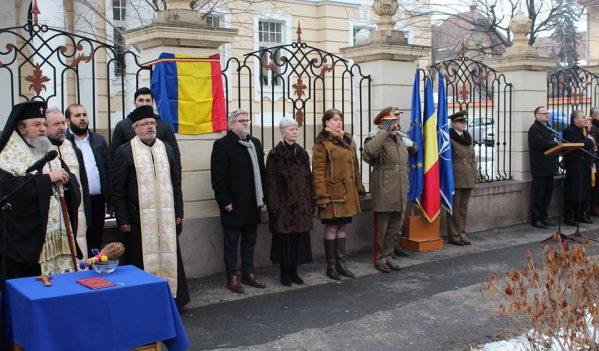 """Ceremonial militar la Rectoratul Universității """"Lucian Blaga″ Sibiu"""